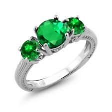 2.90 Ct Round Green Simulated Emerald Green Simulated Emerald 925 Silver Ring