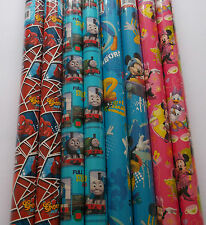 2 x Childrens Wrapping Paper Spiderman Thomas Minnie Mouse Mickey Mouse C.House