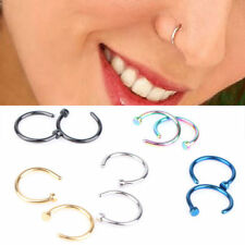 Punk Style Fake Steel Stud Earrings Clip On Piercing Body Nose Lip Rings Hoop