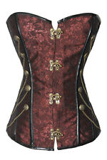 Womens Sexy Brown Steampunk Boned Gothic Punk Overbust Corset Lingerie Basque