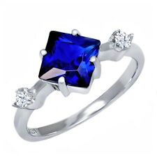 2.36 Ct Princess Blue Simulated Sapphire White Topaz 925 Sterling Silver Ring