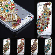 Handmade 3D Bling Diamond Peacock Transparent Case Cover For iPhone 4 4S 5 5S
