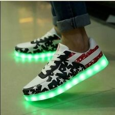 New American Flag Printing Lace Up Womens LED Light Luminous Skateboard 7 Color