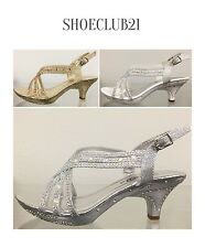 Lucita Jan29 Prom Wedding Rhinestone Kitten Heel Open Toe Strappy Sandal Shoe