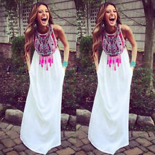 Womens Sexy Boho Long Maxi Dress Ladies Summer Beach Party Sundress Size 6-18
