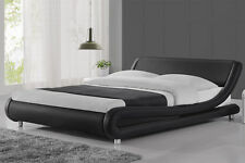 Modern Curved Designer Faux Leather Bed Frame Double King Size Black or White