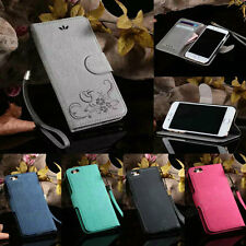 Luxury Flip Leather Wallet Card Case Stripe Cover For Apple iPhone 5 5S 6/6 Plus
