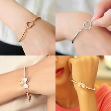 New Jewelry Fashion Crystal Love Heart Charm Chain Bracelet Bangle Jewelry Gift