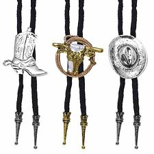 Cowboy Bootlace Bolo Tie Fancy Dress Costume Jewellery Ladies Mens Rodeo Western
