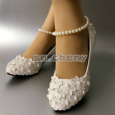 6/9/11cm heel White lace flower pearls Wedding shoes Bridal pointed pumps size