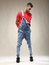Men's Overall Denim Jogger Acid Wash Stretch Overall