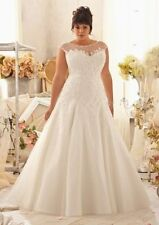 2015 New Plus Size White/Ivory Lace Bridal Gown Wedding Dress 14 16 18 20 22 24+