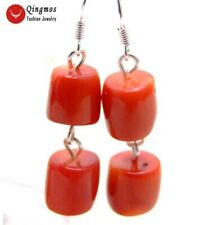 SALE Big 10-11mm GENUINE Red Thick Slice NATURAL Coral Dangle earring-ear412