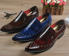 Mens Pointed Toe Business England Style Rivets Formal Dress Slip On Fashion Shoe