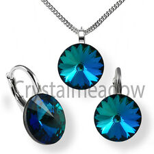 Sterling Silver Earrings Necklace Set BERMUDA BLUE Crystals from Swarovski®