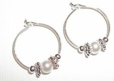 You Pick Color*** Baby Child Girl Hoop Earrings Pearl & Sterling Silver Filled