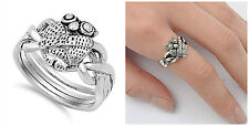 Sterling Silver 925 PRETTY OWL PUZZLE DESIGN SILVER BAND RING 11MM SIZES 5-10