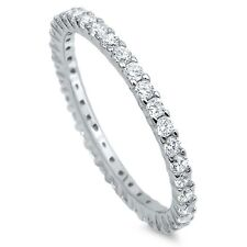 Sterling Silver 925 STACKABLE ETERNITY CLEAR CZ BAND DESIGN RING 2MM SIZES 4-12