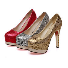 Womens Sexy Leopard Platform High Heel Stiletto Pump High Heel Shoes Party date