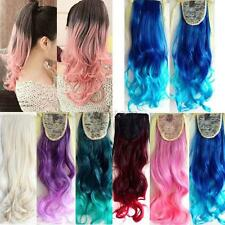 Stylish Ombre Mix Color 53cm Long Wavy Curly Ponytail Hair Extension Hairpiece