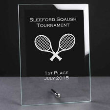 Personalised Engraved Glass Plaque Trophy Award - Squash Sports Club