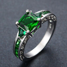 Jewellery Green Emerald Wedding Ring Size M-T Lady's 10KT White Gold Filled Gift