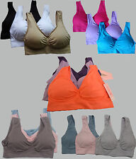 SET OF 3 SUPER COMFORT BRAS DOUBLE LAYER FABRIC WITH REMOVABLE PADS ALL SIZES