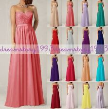 Long Chiffon Maxi Lace Evening Bridesmaid Formal Party Prom Dress Gown Size 6-16