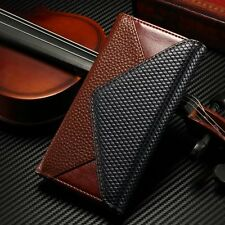 For Samsung iPhone Dual Color Litchi Leather Flip Wallet Card Holder Case Cover