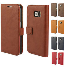 For Samsung S3 S4 S5 Mini S6 Flip Wallet Bark Grain Effect Leather Case Cover