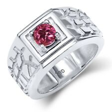 0.50 Ct Round Pink AA Tourmaline AA 18K White Gold Men's Solitaire Ring