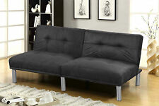 New Cheap Compact 2 Seater Fold Down Sofa Bed Faux Suede Leather Black or Cream