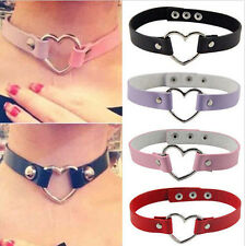 Womens Favorite Punk Goth Leather Rivet Heart Ring Collar Choker Style Necklace