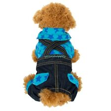 Blue Star Pet Small Dog Overalls Denim/Jeans Jumpsuit Trousers Clothes Apparel