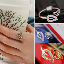 1PC Fashion Womens Gold Plated Crystal Rhinestone Leaf Finger Ring Chic Jewelry