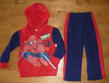 Boys SPIDER MAN sweatshirt suit Outfit Set Hoodie Pants Size 2T 3T 4T red navy