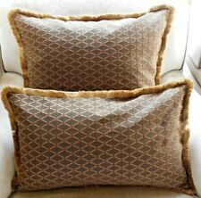 NEW Brown Gold Red EMBROIDERED TRELLIS fringed Oblong or Lge Sq Cushion Covers