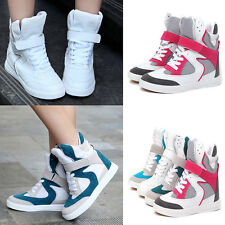 Womens High Top Sports Hidden Wedge Sneaker Skateboard Ankle Boots Lace Up Shoes