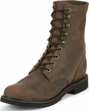 Mens Justin American Tradition Steel Toe Work Boots Made In USA Brown 473