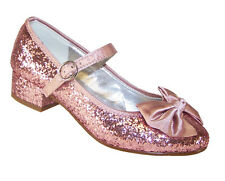 Girls Children New Sparkly Pink Low Heeled Party Shoes Glitter Bridesmaid Court