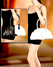 NEW Lot Womens White Black Medium Faux Leather Shoulder Bag Shopper School Purse