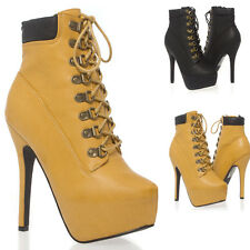 Women Lace Up Platform Stiletto High Heel Ankle Bootie Work Boot Shoe Size 5-10