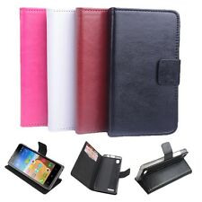 """Leather Build-in Folio Stand Case Cover Skin For 5"""" Lenovo A3900 Mobile Phone"""