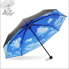 Womens Anti-uv Sun Protection Umbrella Sky Blue Compact Folding Rain Sun Parasol