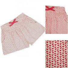 New Ex Bluezoo Debenhams White Red Heart Jersey Stretch Pull On Shorts 12m-6y
