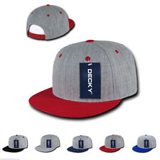 DECKY Heather Grey Snapback Two Tone 6 Panel Retro Flat Bill Hats Hat Caps Cap