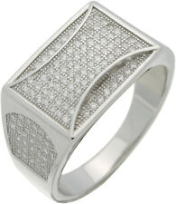 Men's 1CT Micro Pave CZ Sterling Silver Hip Hop Ring Size 8 9 10 11 12 13