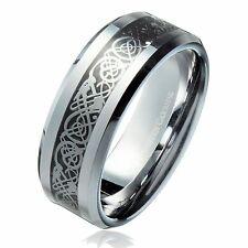 8MM Celtic Dragon Black Background Tungsten Carbide Ring Wedding Band