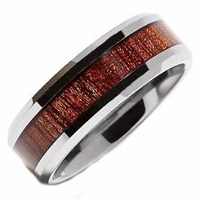 8mm Tungsten Carbide Band Rosewood Inlay Wedding Ring Comfort Fit