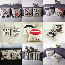 MR. & MRS. Pillowcase Linen Throw Pillow Cases Home Decor Cushion Cover Square